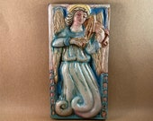 Vertical Angel with Viola Tile 2 (4 x 8 inch aprox)