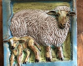 Sheep Tile Blue Border (6 x 6 inch aprox)