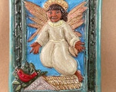 Bless This Home with Health and Joy Angel Tile (6 x 8 inch aprox) turquoise