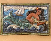 Dark Skin Mermaid with Lute Tile (12 x 8 inch aprox)