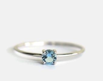 aquamarine ring, aquamarine ring silver, thin gold ring 14k, thin gold ring solid, natural aquamarine ring, simple engagement ring