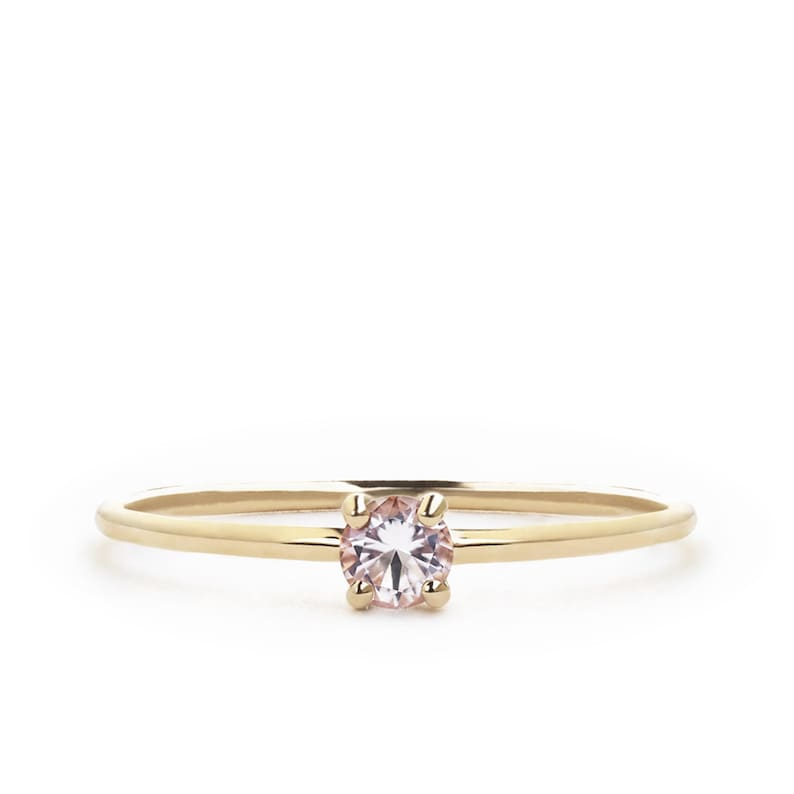 Morganite Ring Promise Ring For Her Valentines Gift Rings solid 18k gold