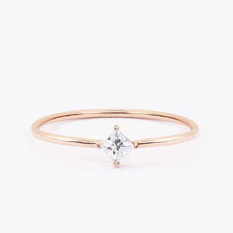 Princess Black Diamond Alternatives Engagement Promise Ring White 14k over 925