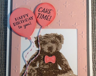 Happy Birthday to You Cake Time Handmade Stampin Up Greeting Card