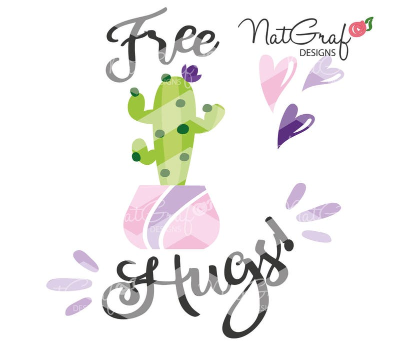 Free Hugs, Cactus, SVG, summer svg, cut files for Cricut and Silhouette,  svg files, htv, quotes, saying, love
