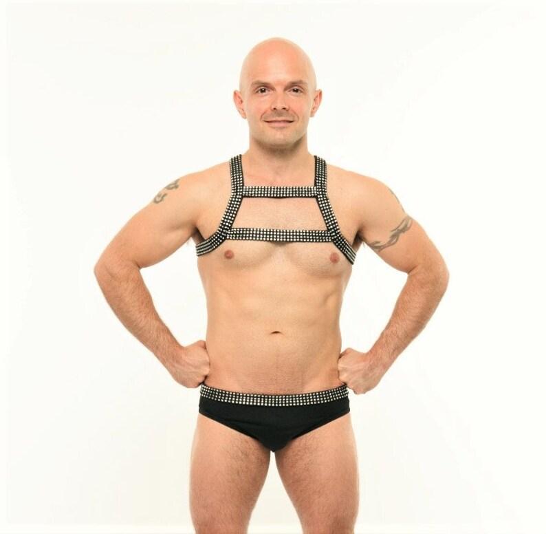 Black Rhinestone Bikini Harness Set