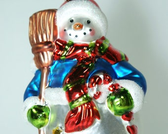 Glass Snowman w broom and candy cane Christmas tree ornament, decoration, Gift for snowman collector, Secret Santa.