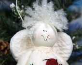 Angel Ornament quot Let Love Guide Your Life, quot hand stitched, hand painted, with heart wings and a halo. Encouragement gift.
