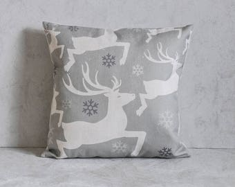 Grey Reindeer Pillow Cover, Tree Pillow Cover, Pillow Covers, Throw Pillow, Christmas Pillow Cover, Decorative Pillow Cover
