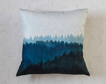 Mountains Pillow Cover, Forest Throw Pillow Cover, Cushion Cover, Pillow Covers, Christmas Pillow Cover, Holiday Pillow, Christmas Gift