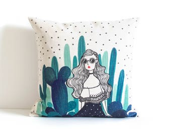 Cactus Girl Pillow Cover, Pillow Covers, Throw Pillow, Green Pillow Cover, Cushion Cover, Decorative Pillow Cover, Cushion Cover, Gift