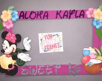 Minnie Mouse Luau Hawaiian Party Photo Booth Frame Aloha Birthday