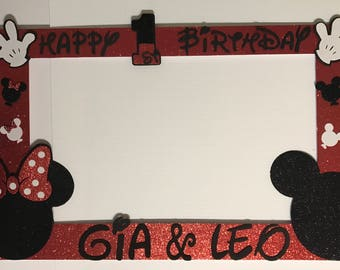 Mickey Mouse And Minnie Mouse Party Photo Booth Frame Etsy