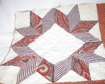Outstanding Fabric Authentic ANTIQUE 1800's QUILT SECTION! (#4)