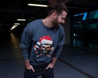 90d94b57457 Skull N Candy Canes Christmas Jumper - Santa Hat Hipster Alternative Style  Sweater Funny Men s or Women s Xmas Sweater Sweatshirt Man Woman