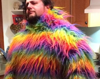 Fur Hoodie, faux fur sweater, fun fur hooded sweater, rockstar,