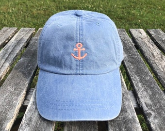 Monogrammed hat, Logo Hats, Anchor hat, Leather Strap, Monogrammed logo hat, Anchor