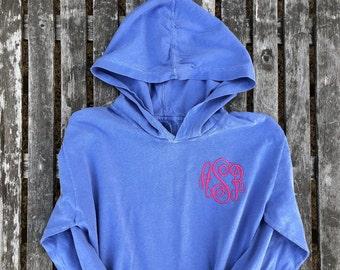 Comfort Colors Monogram Hooded Tee,Long Sleeve t shirt, Comfort Colors, Long sleeve hooded shirt, Monogram tshirt