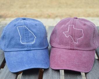 States N-W, Monogrammed hat, State Outline Hat, State hat, Monogrammed state hat, State outline, State pride,