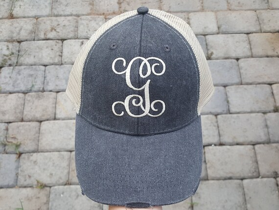 Single Initial Monogrammed Trucker cap Distressed Trucker  446ab783df4