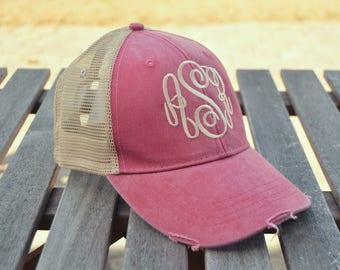 Monogrammed Trucker hat, Monogrammed baseball cap, Distressed Trucker Cap, Womens Hat, Monogram Trucker cap, Trucker hat, Gifts for women