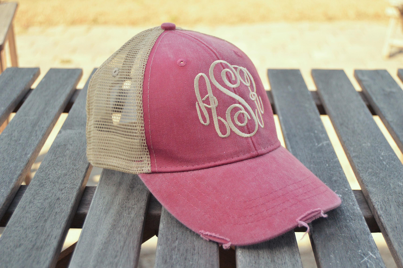 Monogrammed Trucker hat Monogrammed baseball cap Distressed  17f50690507