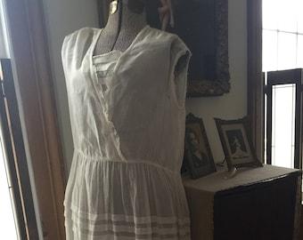Vintage Edwardian 1910s white cotton dress