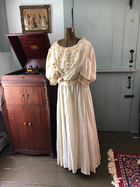 Vintage edwardian two piece white silk gown