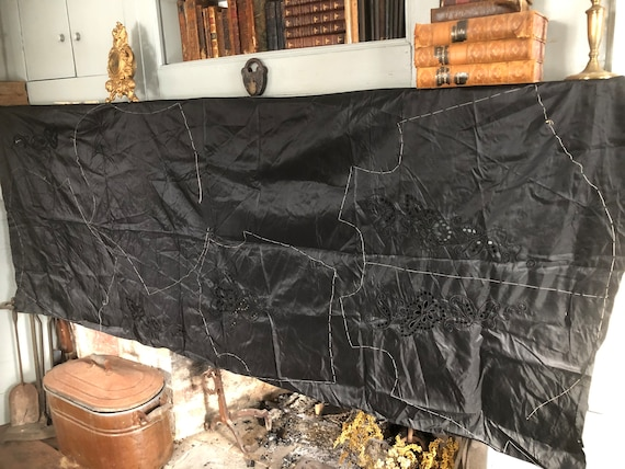 Vintage Victorian 1890's black silk taffeta uncut