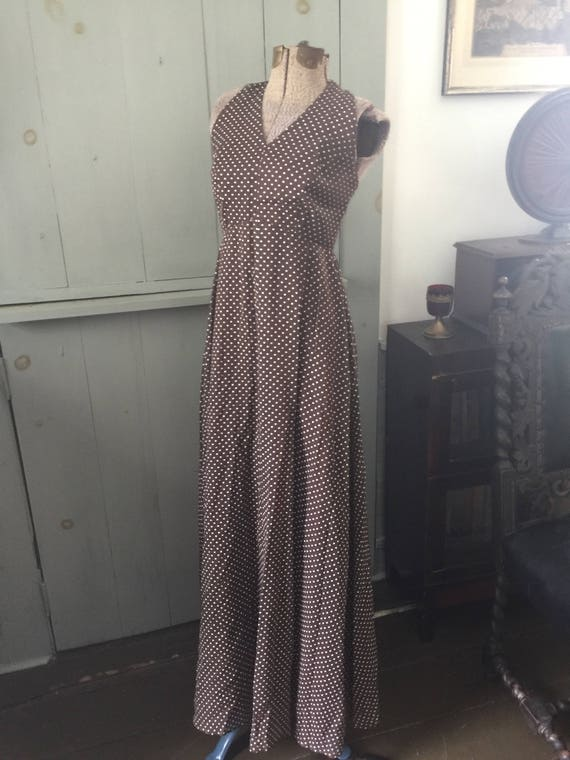 Vintage 1930s 1940s brown polka dot evening gown