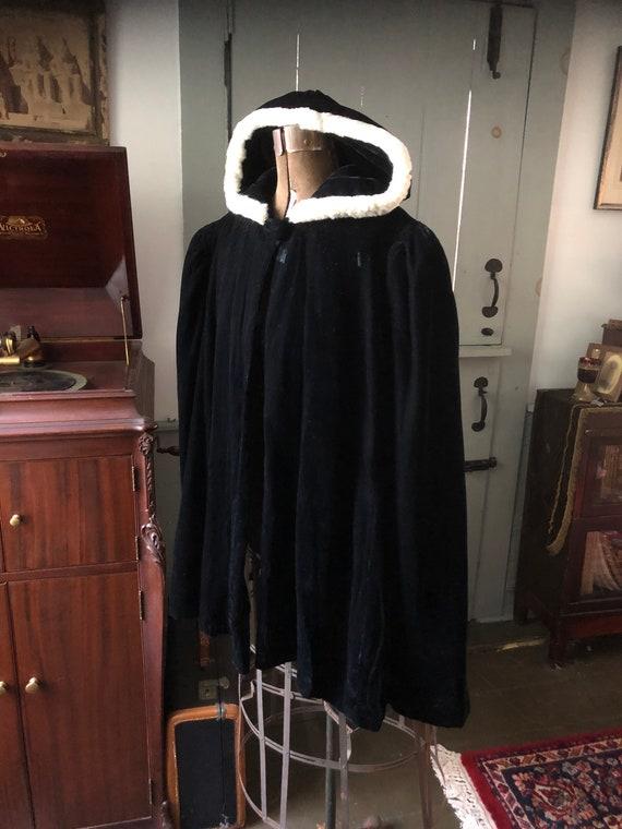 Vintage 1930's black velvet hooded half opera cape