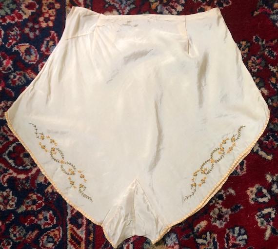 Vintage 1920's 1930's pale yellow silk tap pants 2