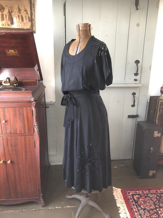 Vintage 1940's black sequin crepe dress