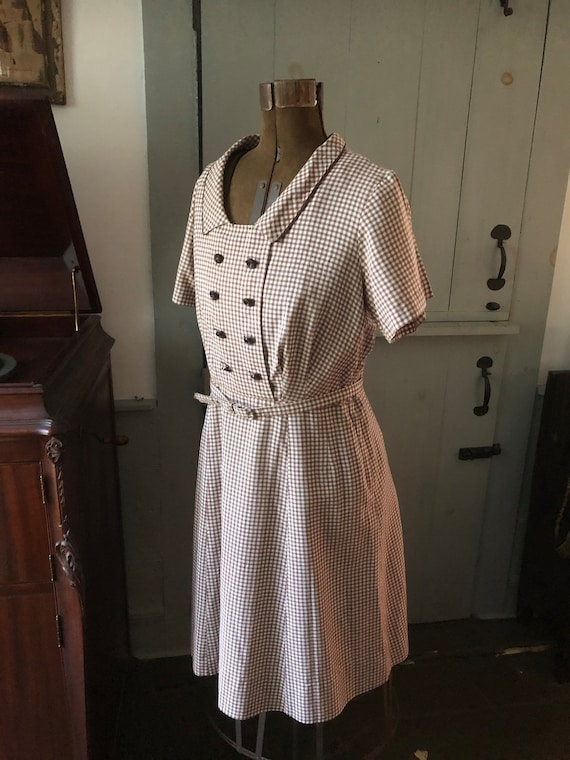 Vintage 1950's brown and white gingham belted dres