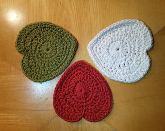 Cotton Crochet Heart-shaped Coasters/washcloths - 2 size options: Green, Rust, Cream, Rainbow, Pastels, Turquoise, Red