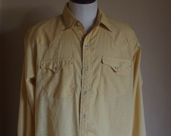 Mens Vintage Western Wear Long Sleeve Shirt Pearl Snaps 1228424b1