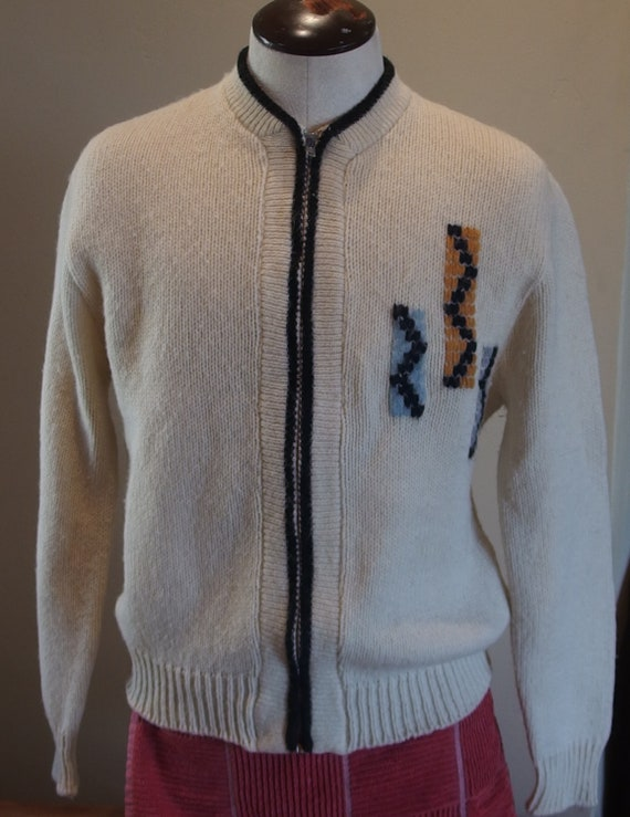 1950s 1960s Mens Front Metal Zipper Knit Cardigan