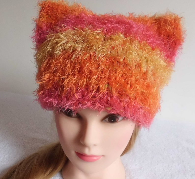 Fluffy Hat Knitted Soft Hat French Beret Orange Yellow Stripes Pussy Hat Hand Knit Pink Knitted Hat Trendy Knit Womens Cat Ear Hat