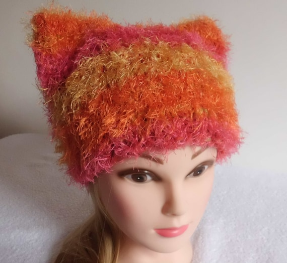 148de8d50c3a06 Hand Knit Pink Orange Yellow Stripes Pussy Hat Trendy Knit | Etsy