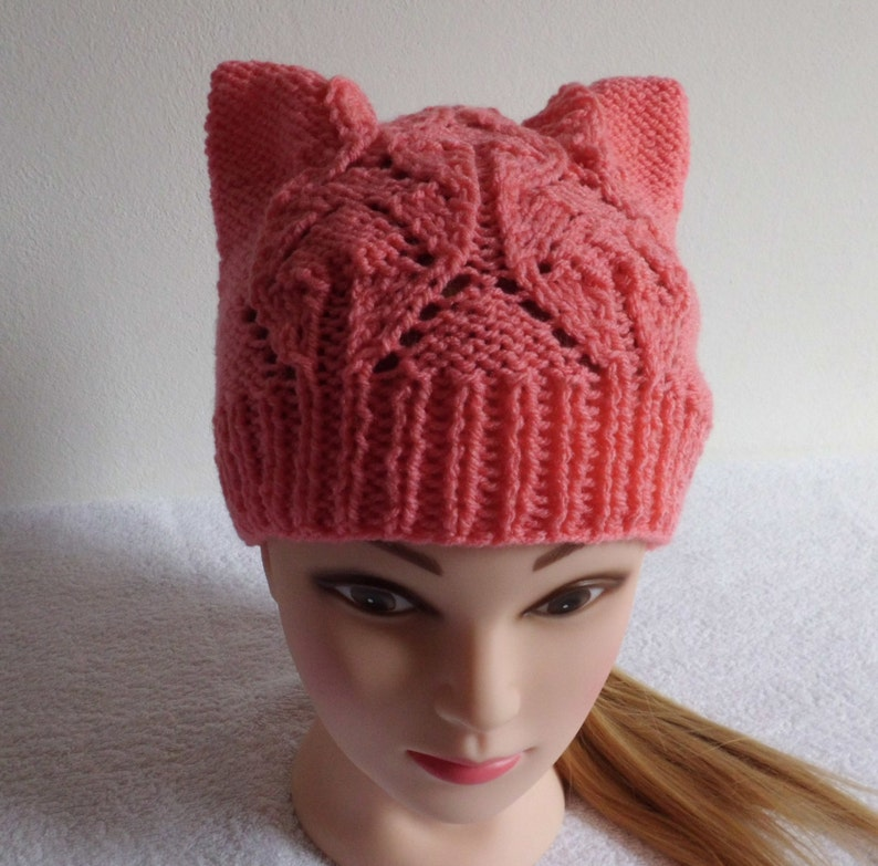 62d425975d9a43 Pink Lace Knit Pussy Hat Hot Pink Cat Hat Hand Knit Cat | Etsy