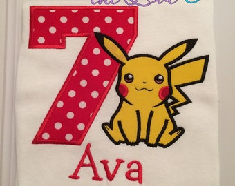 Pokemon Birthday shirt - Pikachu birthday shirt - Personalized birthday shirt - Custom birthday shirt