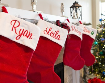 Personalized Traditional Family Christmas Stockings, Embroidered Names