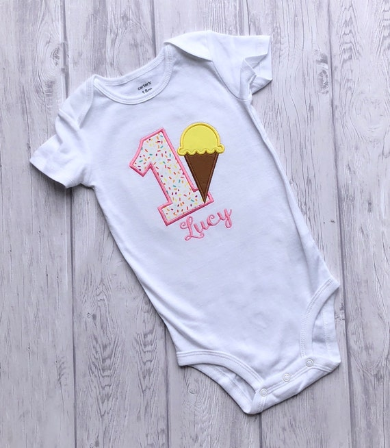 8fbde23d Ice Cream Birthday Party Shirt Summer Embroidered Birthday | Etsy