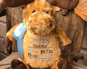 Personalized Embroidered Moose Keepsake Stuffed Animal - Monogram, Birth Stats, Name, Custom Message