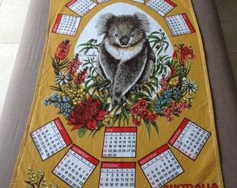 1984 Tea Towel Calendar Australian Souvenir Cotton Vintage Koala Eucalyptus Leaves Wattle Waratah Desert Pea Sun Orchid Tan and White