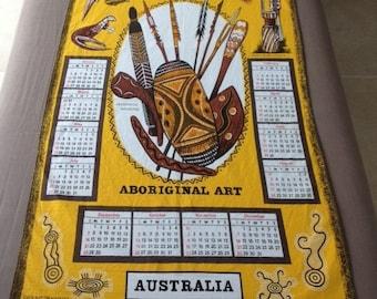 1975 Tea Towel Calendar Australian Souvenir Cotton Vintage Aboriginal Art Decorated Weapons Bark Paintings Burial Posts Ground Drawings