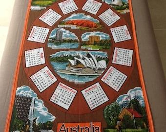 1980 Tea Towel Calendar Australian Souvenir Cotton Vintage Sydney Opera House Ayres Rock National War Memorial Old Mill Wrest Point Casino