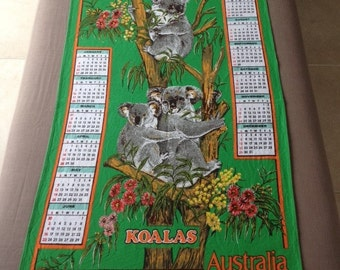 1985 Tea Towel Calendar Australian Souvenir Cotton Vintage Koalas with Cub in Eucalypt Tree Wattle Australian Flora and Fauna Green
