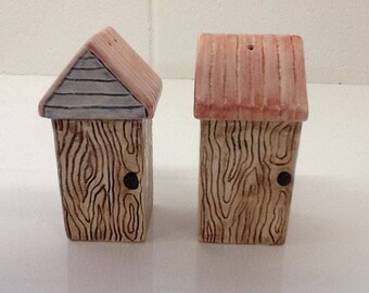 Ceramic Outhouse Thunderbox Shed Salt and Pepper Shakers Made in Australia