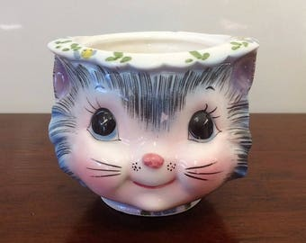 Miss Priss Sugar Bowl No Lid by Lefton Made in Japan Collectable Kitten China Anthropomorphic Sugar Bowl Blue Kitten Face 1960's Tableware